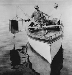 Lake Mendota in Madison, WI about 1917. Edward A Birge and CHancey Juday with plankton trap.