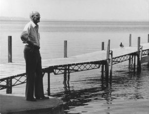 Art Hasler by Hasler Lab boat slip dock. There's still a duck on that dock today.