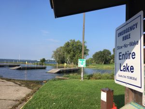 "Lake Monona experienced record-high water levels, making boat launches inaccessible and forcing the DNR to declare the entire lake a ""Slow, No Wake"" zone from August through October. Photo: Adam Hinterthuer"