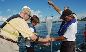 Dave Harring shows attendees at Hasler Lab Open House, 2014 how to use zooplankton net. Over five decades, the Limnos took hundreds, if not thousands, of people out on Lake Mendota. Dave was there for two of those decades.