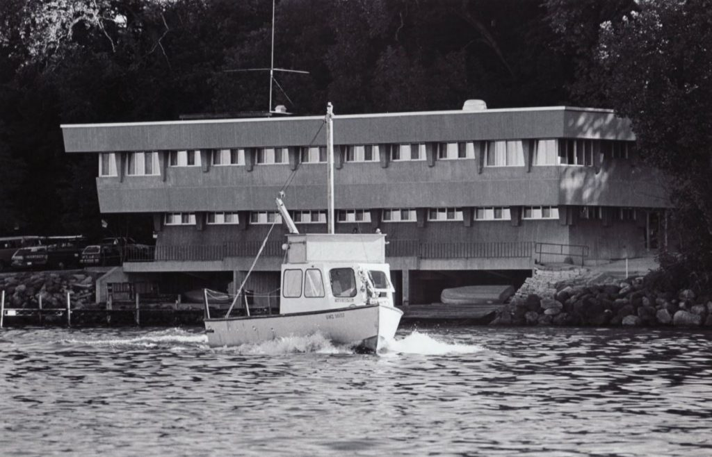The Limnos on an early voyage on lake Mendota. Circa 1967