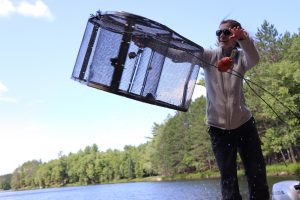 Holly sets a clover trap in McDermott Lake. Photo: Sydney Widell